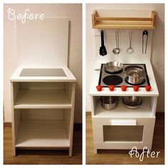 DIY Play Kitchen made from a bedside cabinet