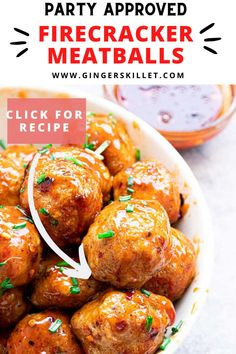 Spicy Chicken Meatballs aka Firecracker meatballs recipe with step-by-step instructions. These spicy and sweet twice-baked chicken meatballs are super easy to make and tastes delicious as an appetizer or in a meal! Baked Chicken Meatballs, Chicken Meatball Recipes, Firecracker Meatballs, Lunch Recipes, Appetizer Recipes, High Protein Recipes, Healthy Recipes, Yum Yum Chicken, Super Easy