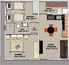 plantas-de-casas-modernas-e-econômicas 2 Bedroom House Plans, Basement House Plans, House Layout Design, House Layouts, Dream Home Design, Home Design Plans, Pool House Designs, Small House Floor Plans, Model House Plan