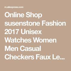 Online Shop susenstone Fashion 2017 Unisex Watches Women Men Casual Checkers Faux Leather Quartz Analog Wrist Watch Freeshipping & Wholesale | Aliexpress Mobile