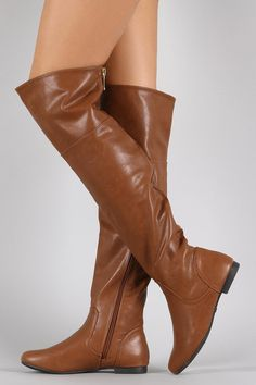 Bamboo Vegan Leather Zipper Collar Knee High Boot