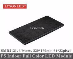 LYSONLED SMD2121 Interior P5 LEVOU Módulo RGB 1/16 de Digitalização 320x160mm 64x32 Pixels, Hd LEVOU Parede de Vídeo RGB P5 Display LED Do Painel de 32x16 cm