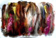 Frenzy - Wild Art batt with loads of texture  107g Art batt  Textured hand carded  batts  BFL by YummyYarnsUK, £9.99