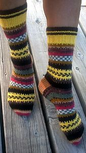 Ravelry: POTLUCK FAIR ISLE SOCKS pattern by Terry Morris Fair Isle Knitting, Loom Knitting, Knitting Socks, Hand Knitting, Crochet Socks, Knitted Hats, Knit Crochet, Unique Socks, Patterned Socks