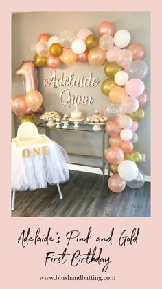 Pink and gold first birthday party with balloon garland. - Decorationn - nicole - Pink and gold first birthday party with balloon garland. - Decorationn Pink and gold first birthday party with balloon garland. 1st Birthday Girl Decorations, First Birthday Balloons, Pink And Gold Birthday Party, 1st Birthday Party For Girls, Girl Birthday Themes, Baby Girl First Birthday, Gold Party, Birthday Garland, 1st Year Birthday