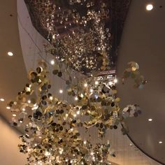"ARIA Las Vegas installs Yellow Goat Design's custom light fixture titled ""Arboreal"" in the casino convention center expansion. Light Decorations, Wedding Decorations, Christmas Decorations, Balloon Ceiling Decorations, Christmas Tree, Holiday Decor, Lobby Interior, Restaurant Interior Design, Custom Lighting"