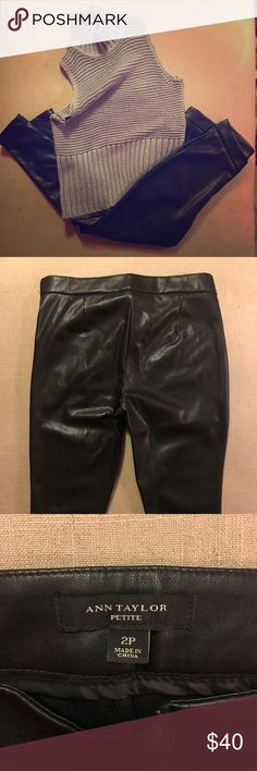 Pants High waisted pleather skinny leg pant with side-zip closure Ann Taylor Pants Skinny