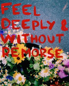 feel deeply and without remorse.