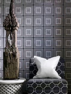 Wallpaper: Biography Grey   Fabric: Mondrian Charcoal  Cushion: Boudin Ivory  Available at www.halogen.co.za