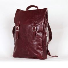 Wine/cherry colored large leather backpack rucksack / To order