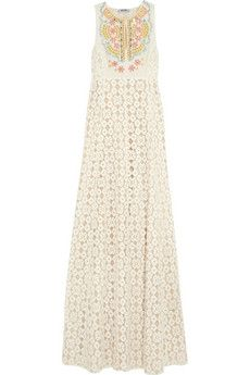 Moschino Cheap and Chic Embellished silk-paneled lace gown    NET-A-PORTER