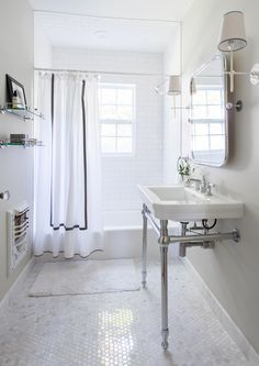 What a bathroom vibe! This windmill pattern triangle tiled floor design has live up the whole bathroom design! Bathroom Shower Curtains, Bathroom Flooring, Shower Window, Basement Bathroom, Knoll Chairs, Blue Velvet Chairs, Bathroom Inspiration, Bathroom Ideas, Simple Bathroom
