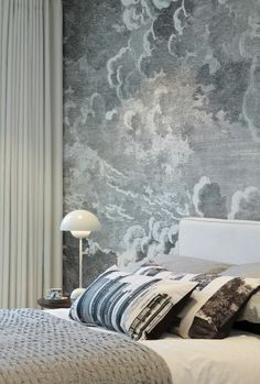 suna interior design the filaments bed one with fornasetti cloud design feature wall small