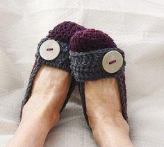 Crochet Slippers Womens Flats Mixed Dark Plum and by daiseychain, $19.00