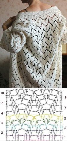 Knitting Patterns Dress Crochet pattern for a lacy design cardigan sweater. Free pattern with chart. Gilet Crochet, Crochet Coat, Crochet Cardigan Pattern, Crochet Jacket, Crochet Stitches Patterns, Crochet Blouse, Crochet Shawl, Crochet Clothes, Stitch Patterns