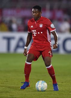 Bayern Munich's Austrian midfielder David Alaba plays the ball during the German Cup first round football match between the German first division...