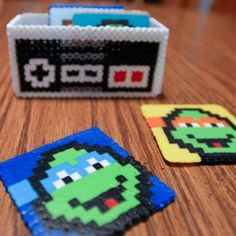 Make these teenage mutant ninja turtles drink coasters from perler beads.