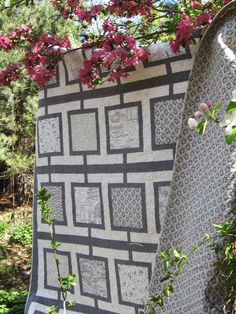 """All Grey """"Walking to Paris"""" Quilt. Photo by C.M Schuster...maybe not this pattern exactly, but all grays and whites to go in our yellow room?"""