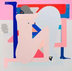 Richard Colman, Cold Shoulder Painting (Pink) Blue Figure, 2016, Acrylic on canvas, 152,4 x 152,4 cm
