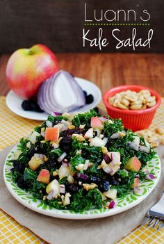 Luann's Kale Salad is a crunchy, sweet, savory and delicious way to eat your greens! | iowagirleats.com