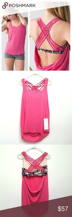 LULULEMON Wild Tank Butterfly Print NWT . Beautiful pink stripe/butterfly print.   Sweat-wicking, four-way stretch Seriously Light™ Luon fabric makes moving a breeze seriously lightweight sweat-wicking four-way stretch. cottony-soft.   This sweat-wicking Luxtreme® fabric built-in bra is four-way stretch and fits like a second skin with a cool, smooth feelsweat-wicking four-way stretch. fits like a second skin. cool smooth handfeel. low-friction performance.  Bra inserts included!  LYCRA®…
