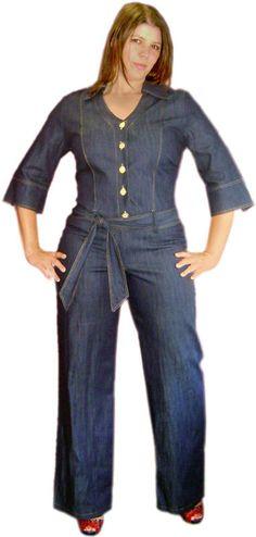 Denim Jumpsuit Plus Size   ..Button+Down+Denim+Plus+Size
