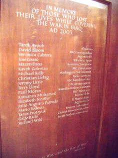 Memorial to the journalists killed in the Iraq conflict. St. Brides Church, Fleet Street, London. February 2012