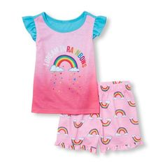 Baby Girls Baby And Toddler Ruffle Sleeve 'I Dream In Rainbows' Top And Printed Shorts Pj Set - Pink - The Children's Place