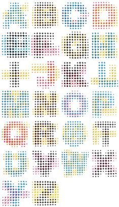 Evelin Kasikov's cross-stitched CMYK alphabet via Waxy. CMYK Alphabet is a typographic experiment, a set of 26 sans-serif uppercase letterforms on a grid Typography Love, Typography Letters, Graphic Design Typography, Typography Inspiration, Graphic Posters, Japanese Typography, Typography Poster, Alphabet Design, Alphabet City