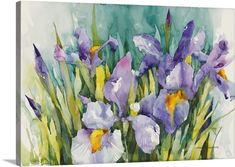 Stretched Canvas Art Floral Purple Irises by Annelein Beukenkamp Oil Painting On Canvas, Canvas Art Prints, Canvas Wall Art, Framed Prints, Big Canvas, Canvas Paintings, Painting Art, Watercolor Painting, Watercolors