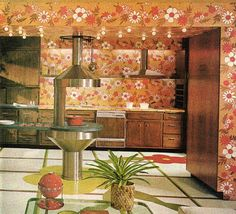 Futuristic and floral kitchen design in Good Housekeeping, July 1969.