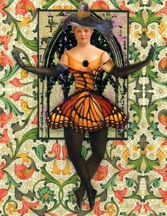 EKDuncan - My Fanciful Muse: Orange Butterfly Witch ATC - Articulated Paper Doll