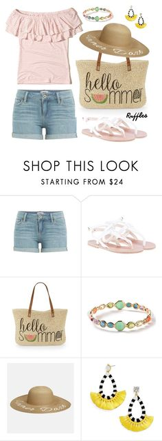 """Summer Ruffled Top Outfit"" by deloom on Polyvore featuring Paige Denim, Ancient Greek Sandals, Straw Studios, Ippolita, Avenue, BaubleBar and Hollister Co."