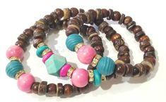 Wood Beaded Bracelets, Brown, Teal, Pink, Gold, Bracelet Stack, Stretchy, Boho, Custom Handmade Beaded Jewelry
