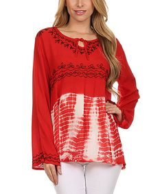 Loving this Red Embroidered & Tie-Dye Peasant Tunic on #zulily! #zulilyfinds
