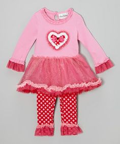 Another great find on #zulily! Pink & Fuchsia Heart Dress & Leggings - Infant, Toddler & Girls by Rare Editions #zulilyfinds
