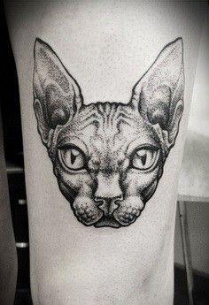 Best Geometric Tattoo - 2017 trend Geometric Tattoo - Stippling style black ink thigh tattoo of big cat ...