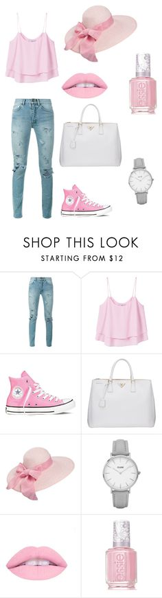 """..."" by gyorgyvanda on Polyvore featuring Yves Saint Laurent, MANGO, Converse, Prada, Topshop and Essie"