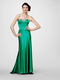 Sheath/Column Strapless Elastic Woven Satin Ankle-length Sleeveless Beading Prom Dresses at pickedlooks.com