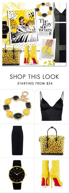 """The way she wears it"" by justlovedesign ❤ liked on Polyvore featuring 1st & Gorgeous by Carolee, T By Alexander Wang, 10 Crosby Derek Lam, Louis Vuitton, Christian Louboutin, yellow, edgy and blackandyellow"
