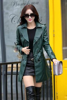Leather Jacket Women Top Fashion New Plus Size Slim Dual Use Pu Removable Ladies Faux Synthetic Long Leather Trench Coat Female Winter Jackets Women, Coats For Women, Ladies Coats, Trench Coat Outfit, Outfits Mujer, Girls In Mini Skirts, Faux Leather Jackets, Leather Coats, Leather Trench Coat Woman