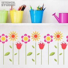 Funky Flowers Stencil  for wall decor and more.. Size M/A3 26.5 x 36.5 cm (10 x 14.5 inches)