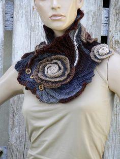 Crochet Scarf Roses Capelet Neck Warmer Freeform crochet Cowl