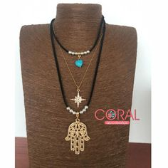 Collar triple mano fatima y cadena – Coral Accesorios Coral, Jewerly, Beaded Necklace, Chokers, Fashion, Fatima Hand, Fashion Necklace, Chains, Pendants