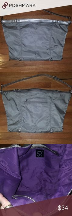 "Sondra Roberts Hobo Purse/Tote NWOT- SR 2 Hobo style bag,tote,overnight bag or even crossbody purse. Just whatever your style may be w-endless uses💟  Measurements: 25""Top- 19 Bottom & Length-15"",also w-adjustable-removable strap. Lots of space & pockets. Beautiful purple lining & grey/metallic color 💟 If you have any questions please feel free to comment below as I usually respond within 24 hrs or less.  Thanks for stopping by & Feel free to stop by my closet anytime as items are added…"