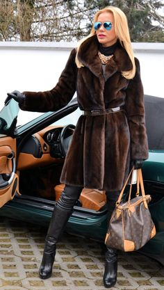 Short brown mink coat