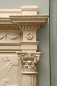Phaeton Fireplace Cornice and Capital ~ Love the details...Carved European limestone.