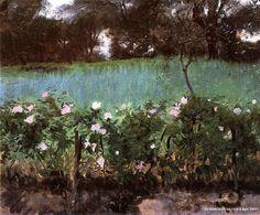 Landscape with Rose Trellis - John Singer Sargent Paintings