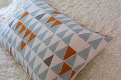 Blue Geometric Pastel Blue bolster cushion by ThirtyfiveFlowers Swedish Design, Scandinavian Design, Pillow Shams, Pillow Covers, Cushion Pillow, Bolster Cushions, Throw Pillows, Mid Century Modern Fabric, Geometric Cushions