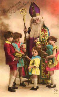 antique vintage post card St. Nicholas printable picture decor Sinterklaas